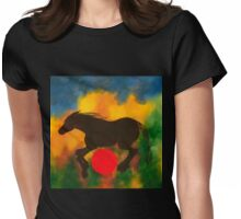 HORSE WITH RED BALL Womens Fitted T-Shirt