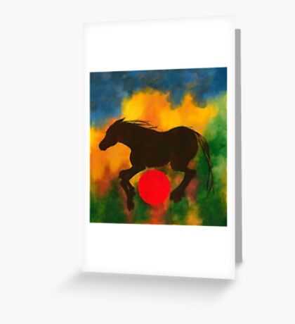 HORSE WITH RED BALL Greeting Card