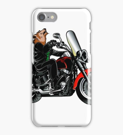 Wolf wearing leather jacket on the motorcycle iPhone Case/Skin