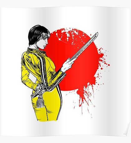 Women with sword on red sun Poster