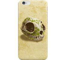 cat skull decorated with wasabi flowers iPhone Case/Skin