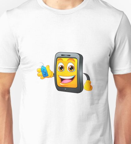 Yellow fun mobile phone cartoon with blue price tag dollar sign Unisex T-Shirt