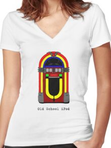 Old School iPod - Colour Women's Fitted V-Neck T-Shirt