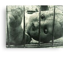 Creepy doll in a cage Canvas Print