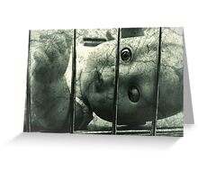 Creepy doll in a cage Greeting Card