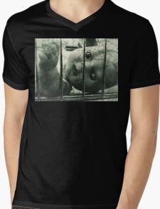Creepy doll in a cage Mens V-Neck T-Shirt
