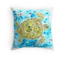 Take Your Time Little Turtle (in the blue) Throw Pillow