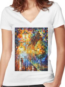 Lights In The Night - Leonid Afremov Women's Fitted V-Neck T-Shirt