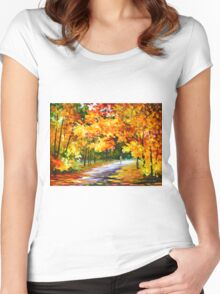 THE PATH OF SUN BEAMS - Leonid Afremov Landscape Women's Fitted Scoop T-Shirt