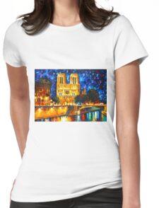 NOTRE DAME DE PARIS - Leonid Afremov CITYSCAPE Womens Fitted T-Shirt