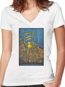 Vincent van Quack! Women's Fitted V-Neck T-Shirt