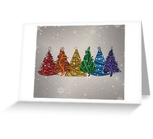 Rainbow Christmas Trees Greeting Card