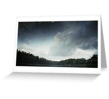 green ufos are passing on watery sky Greeting Card