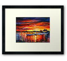 HELSINKI - SAILBOATS AT YACHT CLUB - Leonid Afremov CITYSCAPE Framed Print