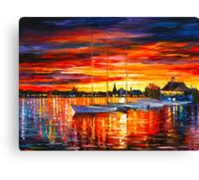 HELSINKI - SAILBOATS AT YACHT CLUB - Leonid Afremov CITYSCAPE Canvas Print