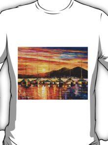 ITALY, NAPLES HARBOR - VESUVIUS - Leonid Afremov CITYSCAPE T-Shirt