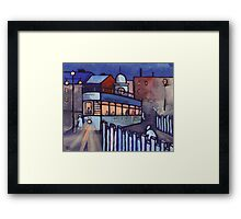 Street scene at night (from my original acrylic painting ) Framed Print