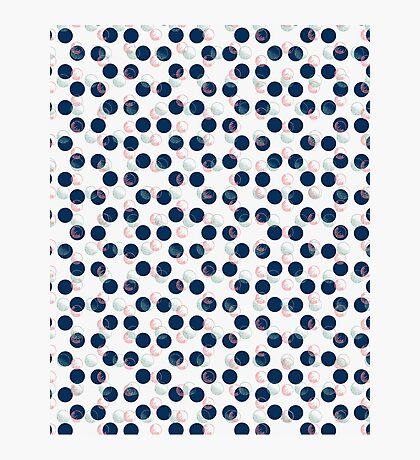 Blue Polka Dots And Scribbles Photographic Print