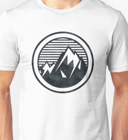 THE MOUNTAIN - Black and White Vintage Retro Adventure Wanderlust Art Unisex T-Shirt