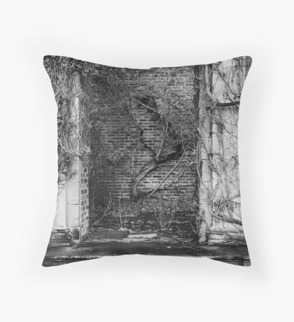 Ivy covered wall Throw Pillow