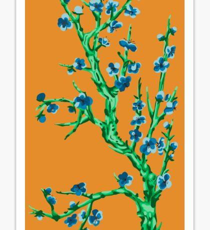 blue flowers in sunset  Sticker