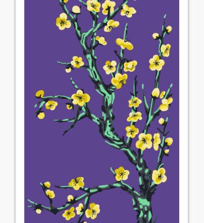 golden flowers on a mossy tree  Sticker