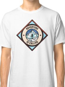 Adventure is Calling, Outdoors Nature Camping Badge Classic T-Shirt