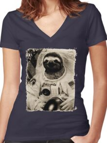 Sloth Astronaut Vintage Women's Fitted V-Neck T-Shirt