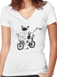Wanna race (outline) Women's Fitted V-Neck T-Shirt
