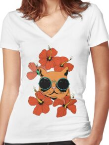 Cat And Hibiscus Flowers Women's Fitted V-Neck T-Shirt