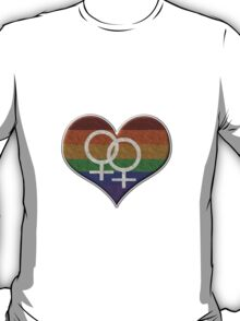 Lesbian Pride Rainbow Heart with Female Gender Symbol T-Shirt