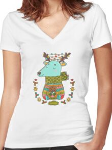 Winter deer Women's Fitted V-Neck T-Shirt