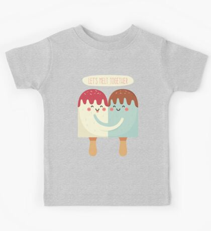 Let's Melt Together Cute Ice Cream Couple Kids Tee