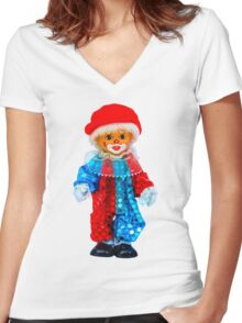 Clown doll Women's Fitted V-Neck T-Shirt