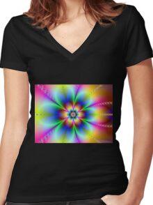 Spring Flower Women's Fitted V-Neck T-Shirt