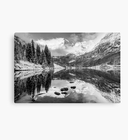 Maroon Bells BW Covered In Snow - Aspen Colorado Canvas Print