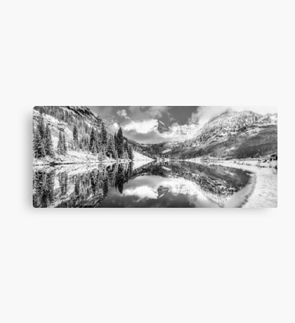 Aspen Colorado Maroon Bells Black and White Panorama Canvas Print