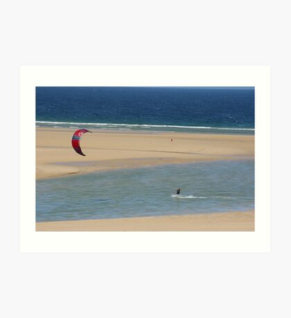 kite surfin blue sand sea  Art Print