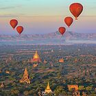 Myanmar. Bagan. Hot Air Balloons. Flying over the Temples. by vadim19