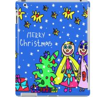 Christmas card with people painted a small child iPad Case/Skin