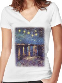 Starry Night over the Rhone, Vincent van Gogh Women's Fitted V-Neck T-Shirt
