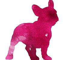 French bulldog watercolor painting art print, pink abstract dog wall decor by Joanna Szmerdt