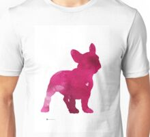 French bulldog watercolor painting art print, pink abstract dog wall decor Unisex T-Shirt