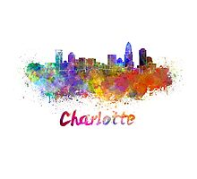 Charlotte skyline in watercolor Photographic Print