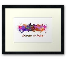 Salvador de Bahia skyline in watercolor Framed Print