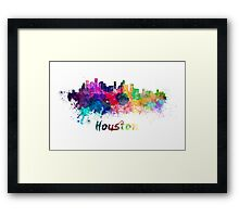 Houston skyline in watercolor Framed Print