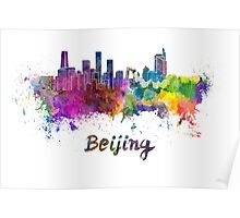 Beijing skyline in watercolor Poster