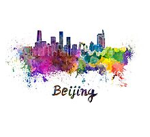 Beijing skyline in watercolor Photographic Print