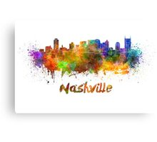 Nashville skyline in watercolor Canvas Print