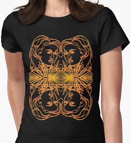 TSHIRT Oriental Girl with fan mirrored Womens Fitted T-Shirt